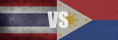 泰国和菲律宾的旗帜并排显示